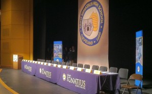 The stage is set at the Breen Center for the National Signing Day for high school athletes.